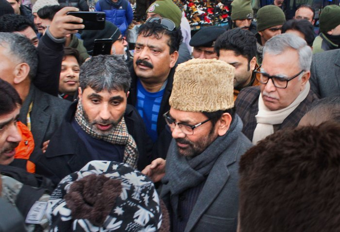 Union Minister for Minority Affairs Mukhtar Abbas Naqvi visits Lal Chowk during his public outreach programme, in Srinagar. (PTI Photo)