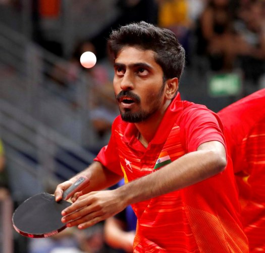 India's men's highest-ranked player G Sathiyan took some time adjusting to Luka Mladenovic but other than that it was a straight forward tie for the fifth seedwho play 11th-seeded Slovenia. (Reuters photo)