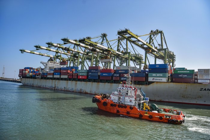 Containers on a ship wait for off-loading at the Chennai Port Trust, in Chennai, Thursday, Jan. 16, 2020. (PTI Photo)
