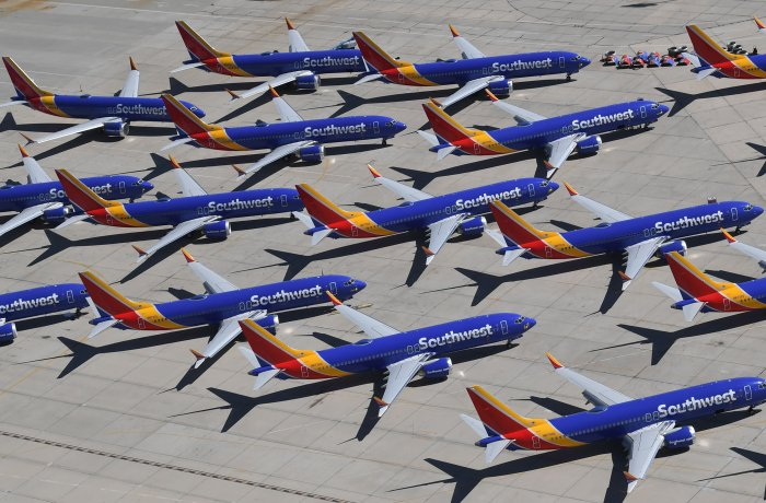 Southwest Airlines Boeing 737 MAX aircraft are parked on the tarmac after being grounded, at the Southern California Logistics Airport in Victorville, California.. (AFP Photo)
