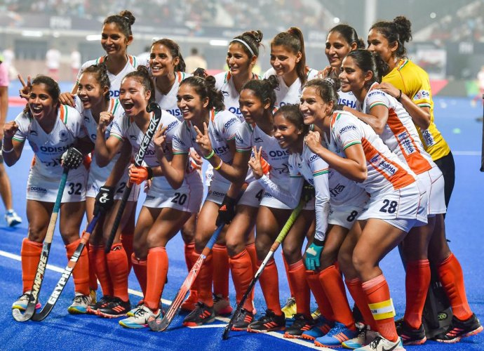 Indian Women Hockey team celebrate after they qualify for Tokyo Olympic at the end of FIH Hockey Olympic Qualifiers 2019 (Women) against USA, at Kalinga Stadium in Bhubaneswar, Odisha, Saturday, Nov. 2, 2019. (PTI Photo)