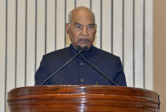 President Ram Nath Kovind addresses during the Human Rights Day Function being organised by the National Human Rights Commission, at Vigyan Bhawan, in New Delhi, Tuesday, Dec. 10, 2019. (PTI Photo)
