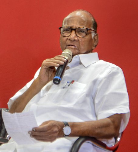 NCP Chief Sharad Pawar interacts with media personnel at Pune Union of Working Jounrnalist (PUWJ) in Pune, Saturday, Dec. 21, 2019. (PTI Photo)