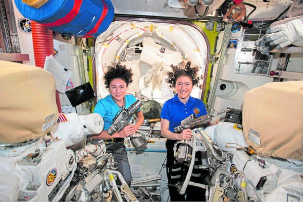 NASA astronauts Jessica Meir, left, and Christina Koch performed the first all-woman spacewalk recently. Photo courtesy: NASA