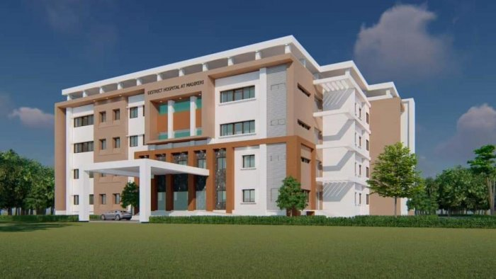 The blue print of super speciality hospital in Madikeri.