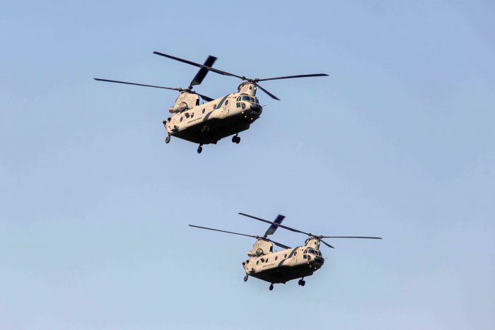 Indian Air Force (IAF) Chinook helicopters flypast during the full dress rehearsal for the upcoming Republic Day Parade. (PTI Photo)