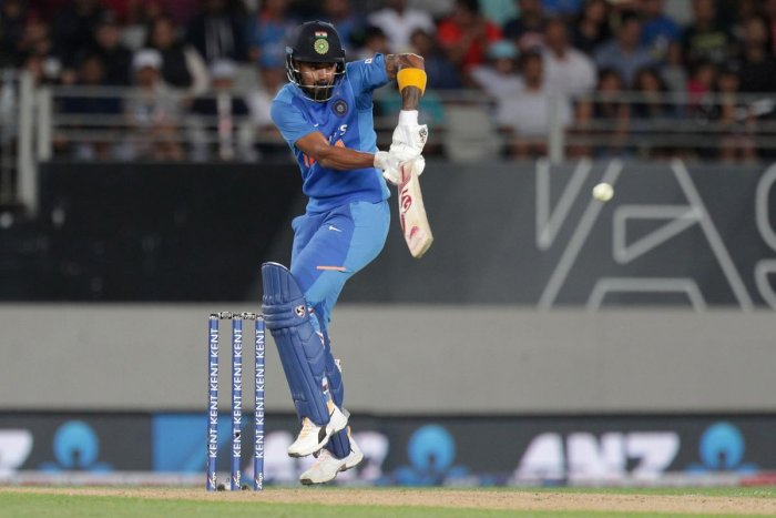 India's Lokesh Rahul bats during the second Twenty20 cricket match between New Zealand and India at Eden Park in Auckland. (AFP Photo)