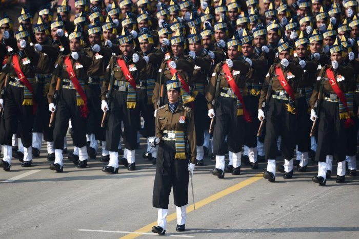 Indian Army captain Tania Shergill (C) leads an all-male contingent as they march along Rajpath during the Republic Day parade in New Delhi on January 26. (AFP Photo)