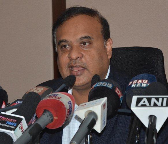 Himanta Biswa Sarma addressing a press conference. (DH Photo)