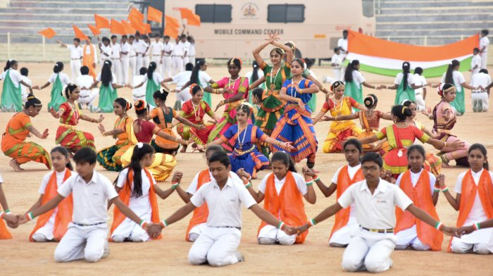 A still picture of school students performing in the Republic Day celebration in Mysuru last year. Dh-file photo