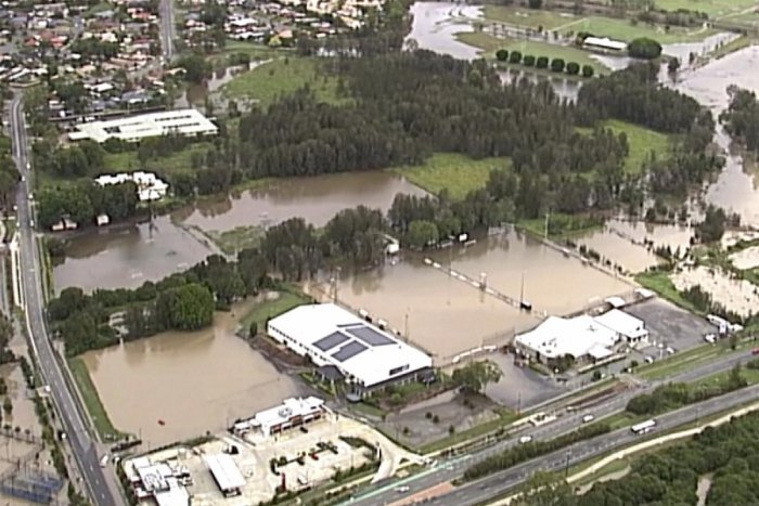 This image from a video, shows flooded fields on Gold Coast, Australia Saturday, Jan. 18, 2020. (AP Photo)