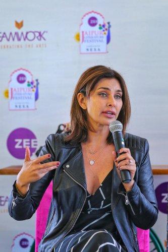 Lisa Ray at the Jaipur Literature Festival. (Credit: PTI photo)