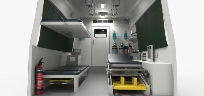The interiors of the 3-bed ambulance for soldiers, designed by Able Design Engineering Services Private Limited in Hubballi. (Right) Interiors of the single-bed ambulance. DH Photos
