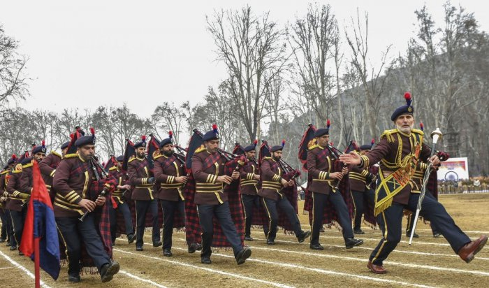 Jammu and Kashmir Police band marches past during the 71st Republic Day function at Sher-e-Kashmir Stadium, in Srinagar, Sunday, Jan. 26, 2020. (PTI Photo)