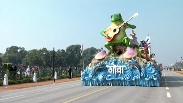 Goa's 'save the frog' campaign highlighted on the state's Republic Day tableau in New Delhi. Credit: Screengrab (Doordarshan)