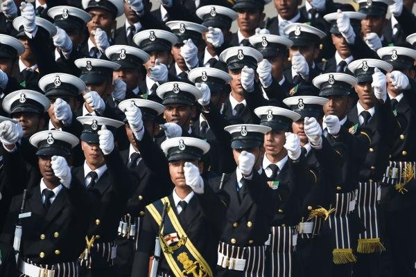 Indian Navy soldiers march along Rajpath during the Republic Day parade in New Delhi on January 26, 2020. (AFP Photo)