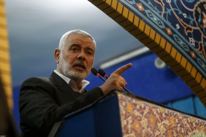 A handout picture provided by the office of Iran's Supreme Leader Ayatollah Ali Khamenei shows Palestinian Hamas movement leader Ismail Haniya. (AFP Photo)