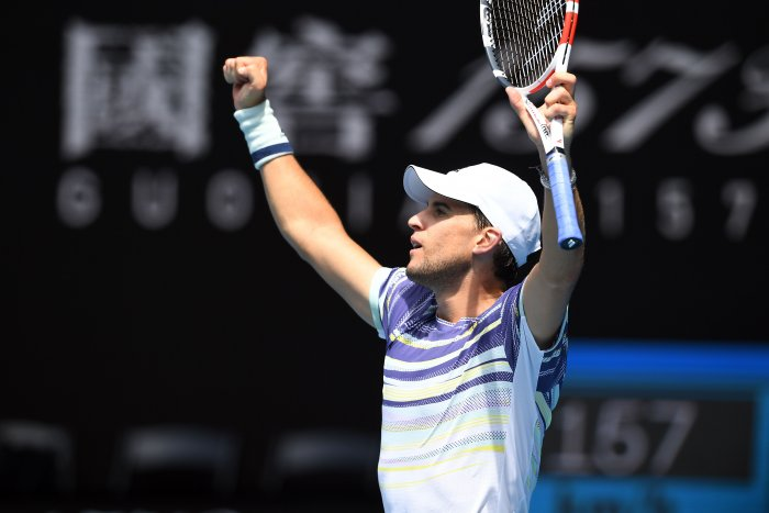 Austria's Dominic Thiem celebrates after victory France's Gael Monfils during their men's singles match on day eight of the Australian Open tennis tournament in Melbourne. (AFP Photo)