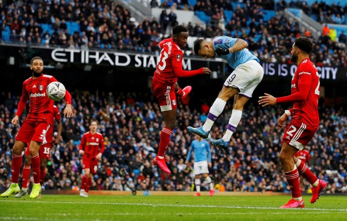 Manchester City's Gabriel Jesus scores their third goal. (Reuters Photo)