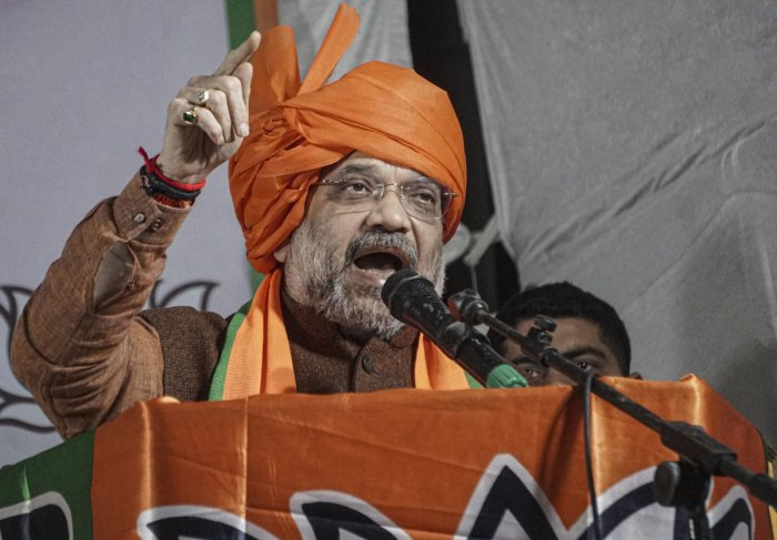 """""""Your vote to BJP candidate will make Delhi and the country safe and prevent thousands of incidents like Shaheen Bagh,"""" said BJP leader Amit Shah. Credit: PTI Photo"""