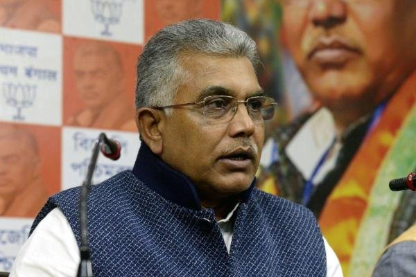 West Bengal BJP President Dilip Ghosh addressing a press conference in Kolkata. (IANS Photo)