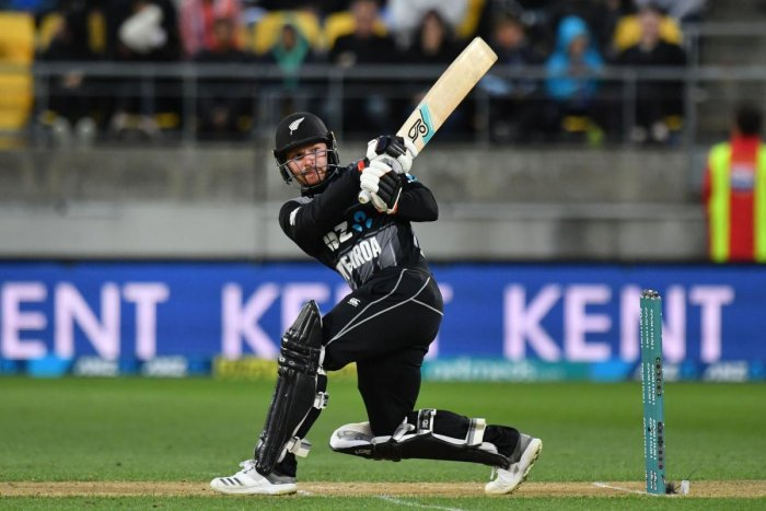 New Zealand's Tim Seifert plays a shot during the first Twenty20 cricket match between New Zealand and India in Wellington on February 6, 2019. (Credit: AFP Photo)