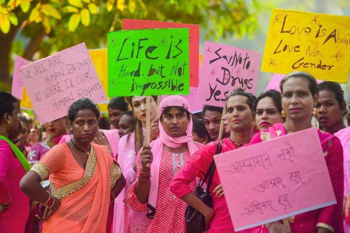 Members from the transgender community take part in the 6th 'Pink Rally' organised by 'Kinnar Maa ek Samajik Sanstha', in Mumbai, Monday, Jan. 13, 2020. (PTI Photo)