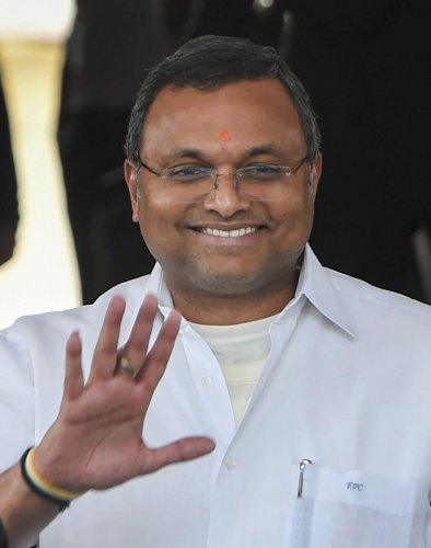 Congress leader Karti Chidambaram in New Delhi. The Supreme Court on Friday, Jan. 17, 2020 allowed Karti to withdraw Rs. 20 crore deposited with its registry as condition to travel abroad. (PTI Photo)