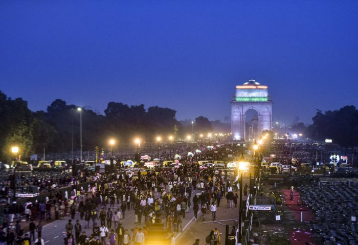 People gather at Rajpath on the occasion of 71st Republic Day, near India Gate in New Delhi, Sunday, Jan. 26, 2020. (PTI Photo)
