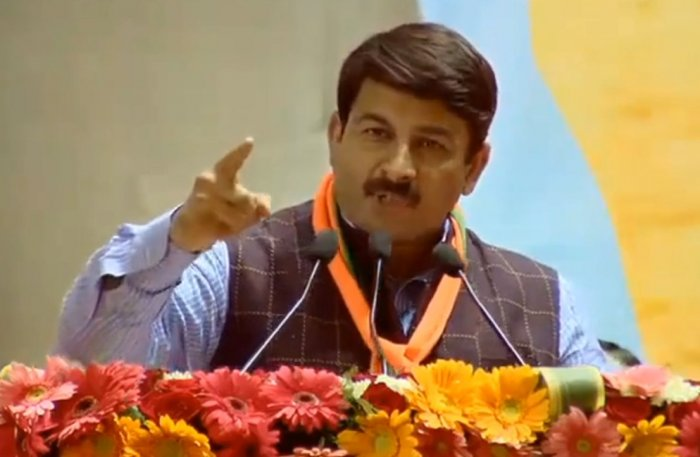 """Replying to the participants of the online """"Chaupal"""", Tiwari blamed the ruling Aam Aadmi Party (AAP) for doing nothing to address the air pollution problem in Delhi. Credit: Twitter (@BJP4Delhi)"""