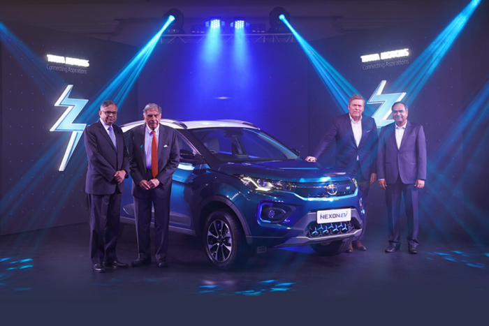 Tata Motors officials during the launch of the Nexon EV in Mumbai on Tuesday. Credit: Tata Motors
