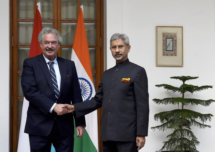 External Affairs Minister S Jaishankar (R) shakes hands with Minister of Foreign & European Affairs of the Grand Duchy of Luxembourg, Jean Asselborn. (PTI Photo)