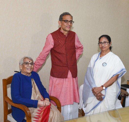 West Bengal Chief Minister meets Nobel laureate and economist Abhijit Banerjee and his mother Nirmala Banerjee at State Secretariat (Nabanna) in Kolkata, Tuesday, Jan.28, 2020. (Credit: PTI Photo)