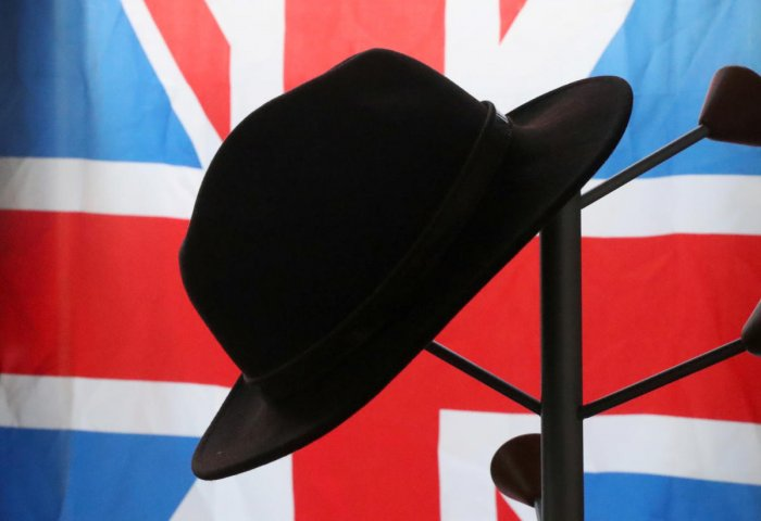 A hat is seen in the office of Brexit Party leader Nigel Farage during an interview at the European Parliament in Brussels. Reiters