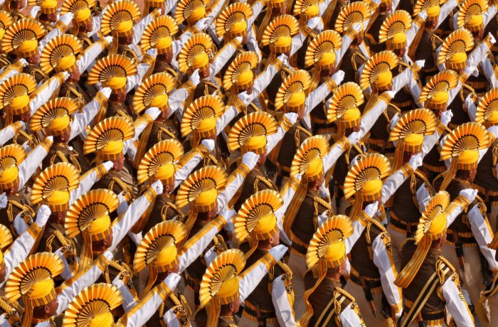 The yellow headgear donning 148-member contingent was led by Deputy Commandant Prabh Simran Singh that paraded the Rajpath on January 26. Credit: Reuters photo