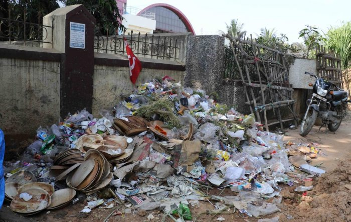 A heap of garbage in Hassan city. dh photo