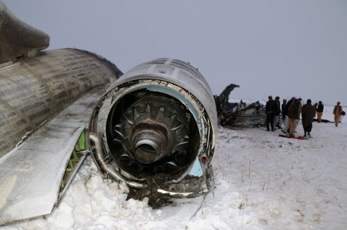 The wreckage of an airplane is seen after a crash in Deh Yak district of Ghazni province, Afghanistan January 27, 2020. (Reuters Photo)