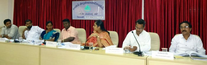 ZP President Dinakar Babu, Vice President Sheela Shetty, CEO Preethi Gehlot and others during ZP meeting in Udupi on Tuesday.