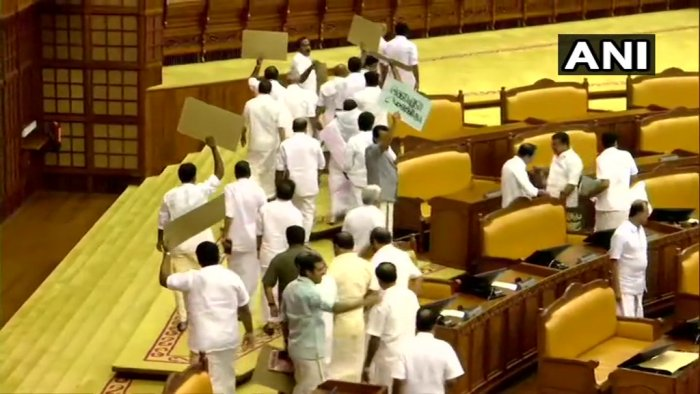 United Democratic Front (UDF) MLAs staged a walk-out from the assembly as Kerala Governor Arif Mohammad Khan began his address. (ANI Photo)