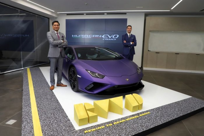 Sharad Agarwal, Head, Lamborghini India (left) and Matteo Ortenzi, Chief Executive Officer, Automobili Lamborghini Asia Pacific, during the launch of the Lamborghini Huracan Evo RWD.