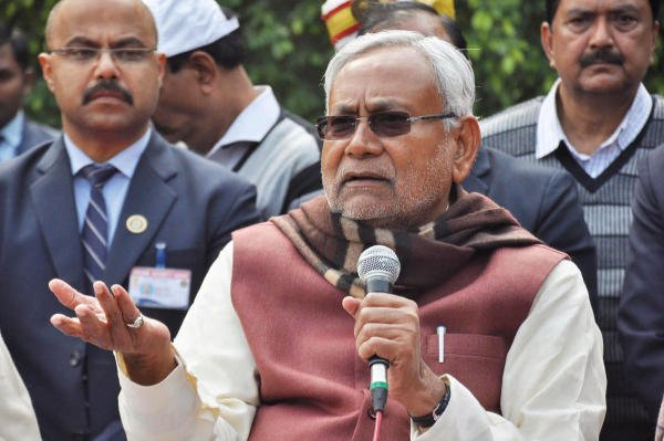 Bihar Chief Minister Nitish Kumar addresses the media after party meeting at his official residence in Patna, Tuesday, Jan 28,2020. (PTI Photo)