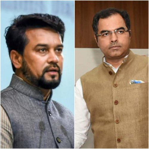 Minister of State for Finance Anurag Thakur and West Delhi MP Parvesh Verma. (PTI Photos)