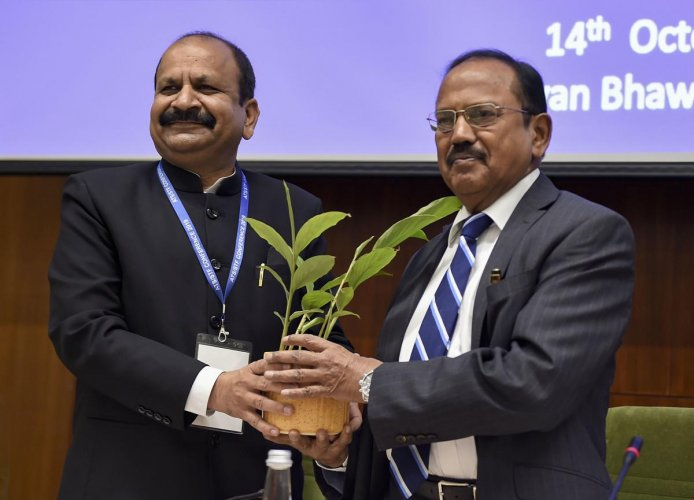 National Security Advisor Ajit Doval being greeted by NIA Director General Yogesh Chander Modi during the National Investigation Agency(NIA)'s national conference of Chiefs of Anti-Terrorism Squad/ Special Task Force, in New Delhi, Monday, Oct. 14, 2019. (PTI Photo)