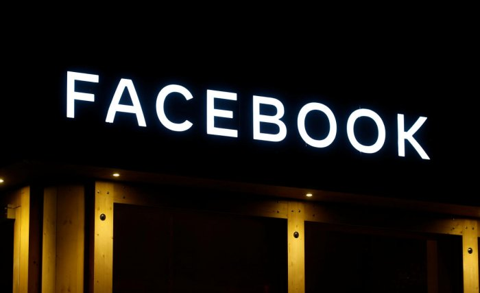 The logo of Facebook is seen in Davos, Switzerland Januar 20, 2020. Picture taken January 20, 2020. (Reuters Photo)