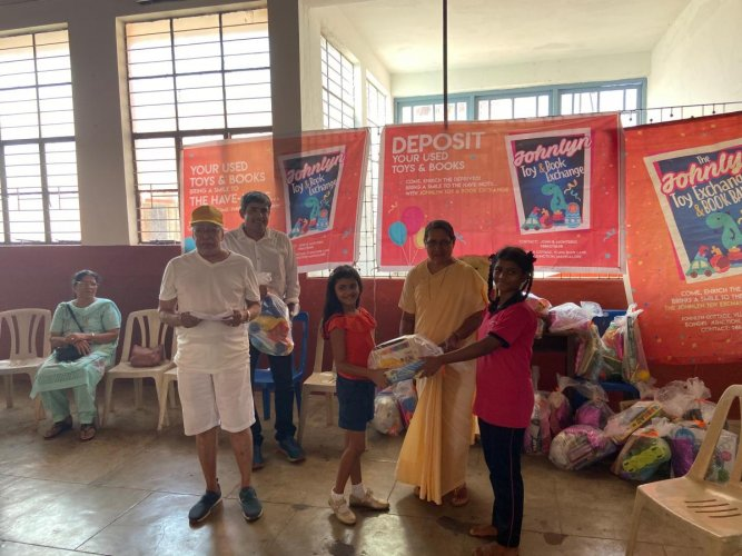 Children of St Angela's Convent in Bejai, Mangaluru, receive toys from Johnlyn Toy Exchange.