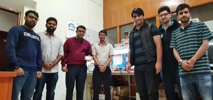 Members of the IISc radar-on chip team. (From left): Saijagan, Vysakh K, Gaurab Banerjee, Sumit Kumar, Pushtivardhan Soni, Anshaj Shrivastava, Rituraj Kar.