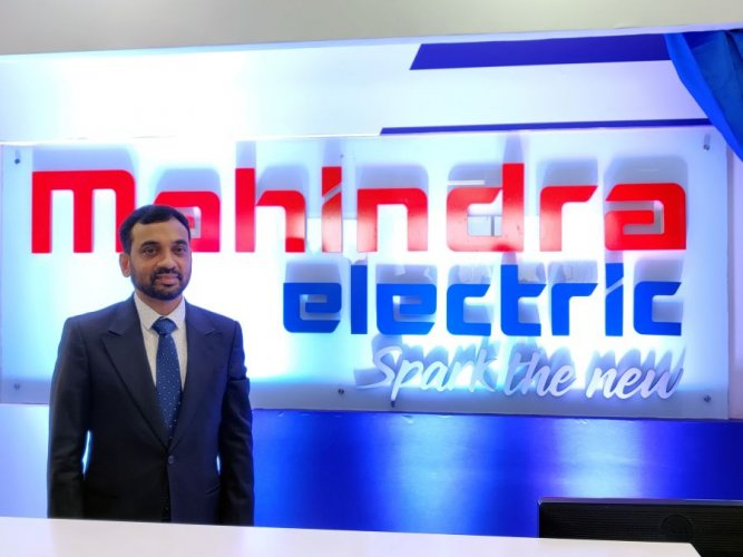 Mahesh Babu, CEO, Mahindra Electric, during the unveiling of the new electric mobility corporate brand identity