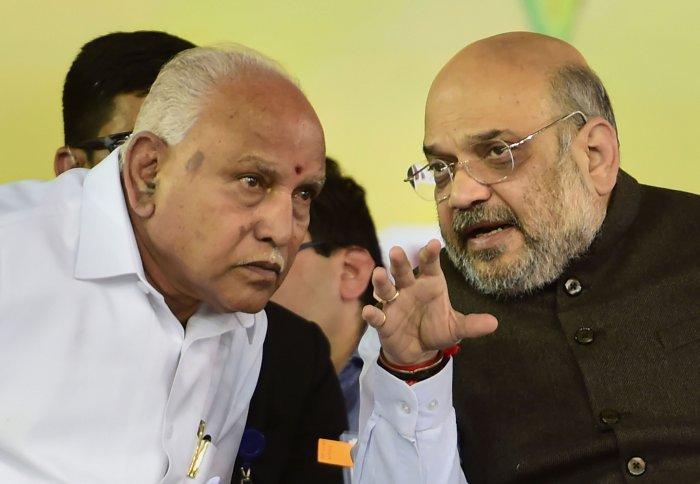 Karnataka CM BS Yediyurappa and Home minister Amit Shah. (Photo Credit: PTI)