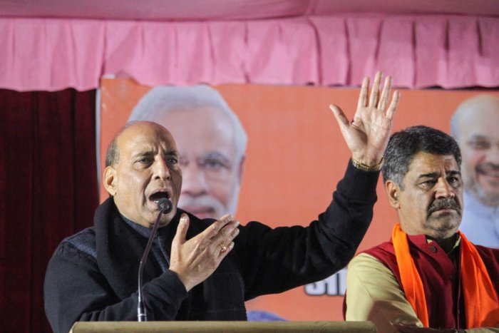 Union Defence Minister Rajnath Singh addresses during a public meeting for the upcoming Delhi Assembly elections at Adarsh Nagar, in New Delhi, Wednesday, Jan. 29, 2020. Credit: PTI Photo