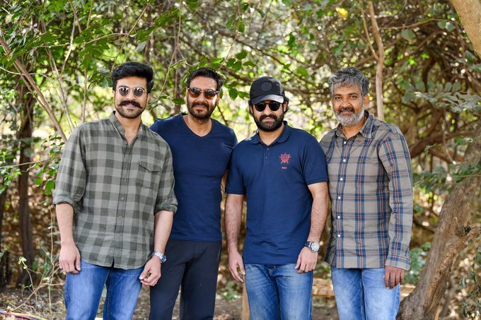 Ajay Devgn joins the shoot of Jr NTR and Ram Charan's RRR. (Credit: Twitter)